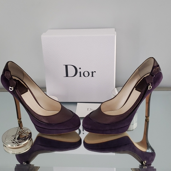 New Dior Deco Purple Suede Pumps
